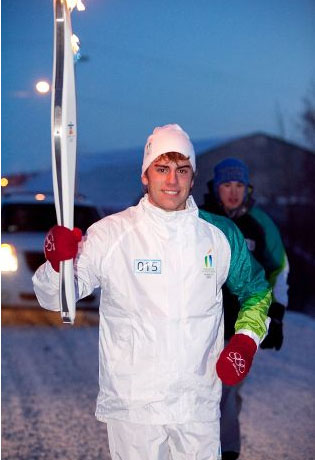 Joseph Lirette takes part in Olympic Torch Relay in Inuvik